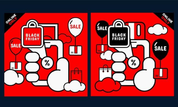 Conjunto de banner de promoção de sexta-feira negra. mão segurando o telefone com a tela de compras online. vetor Vetor Premium