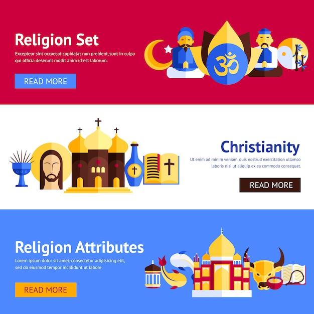 Conjunto de banner de religião Vetor grátis