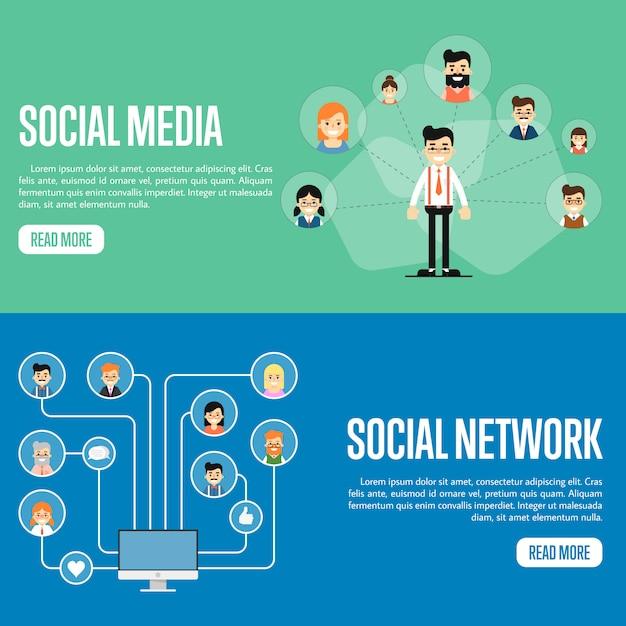 Conjunto de banner de site de rede de mídia social Vetor Premium