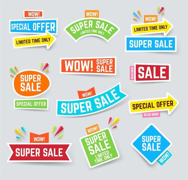 Conjunto de banner de super venda para atrair atenção Vetor Premium