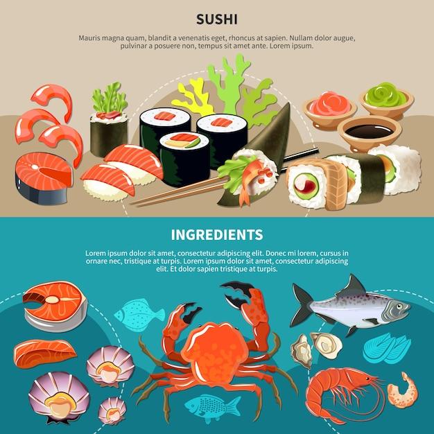 Conjunto de banner de sushi Vetor grátis