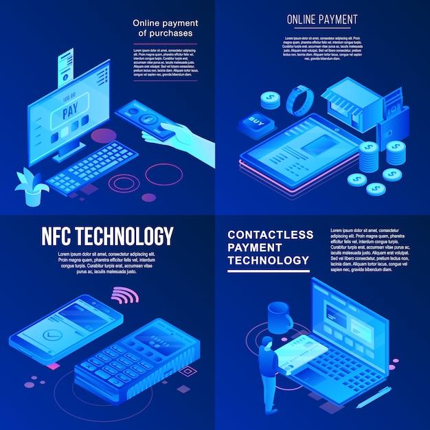 Conjunto de banner de tecnologia nfc. conjunto isométrico de banner de vetor de tecnologia nfc para web design Vetor Premium