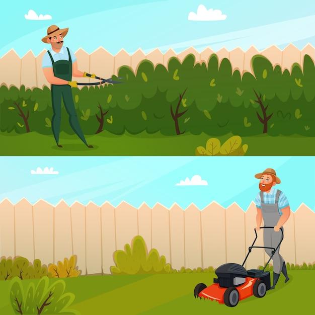 Conjunto de banner de trabalho de jardinagem Vetor grátis