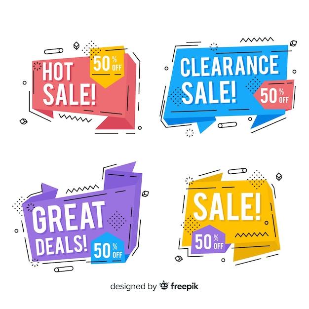 Conjunto de banner de venda de estilo memphis colorido Vetor grátis