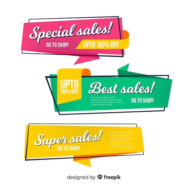 Conjunto de banner de venda de estilo origami colorido Vetor grátis