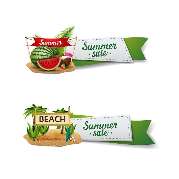Conjunto de banner de venda de verão Vetor Premium