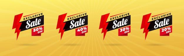 Conjunto de banner de venda moderna Vetor Premium