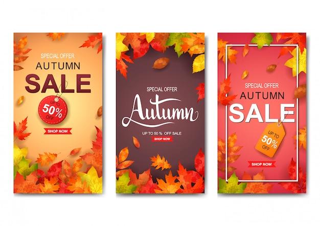 Conjunto de banner de venda outono Vetor Premium