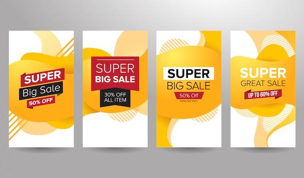 Conjunto de banner de venda super amarelo temático Vetor Premium
