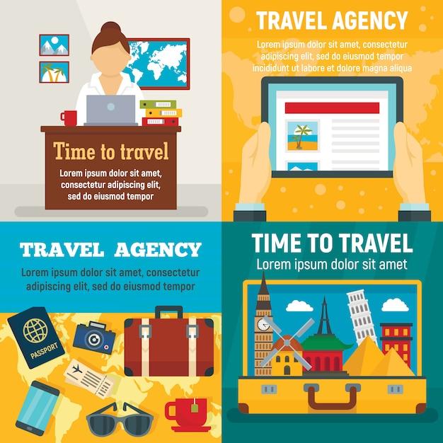 Conjunto de banner de viagens de agência. ilustração plana de viagens de agência Vetor Premium