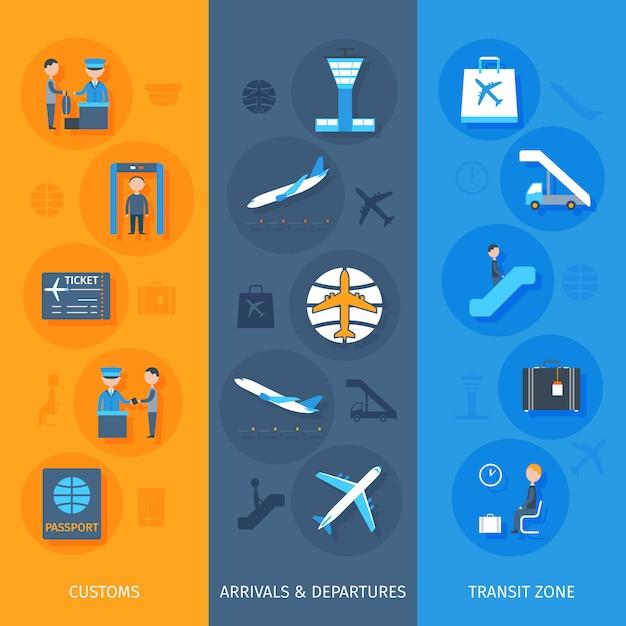 Conjunto de banner do aeroporto Vetor Premium