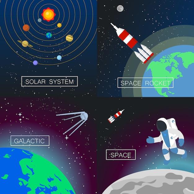 Conjunto de banner do universo. Vetor Premium