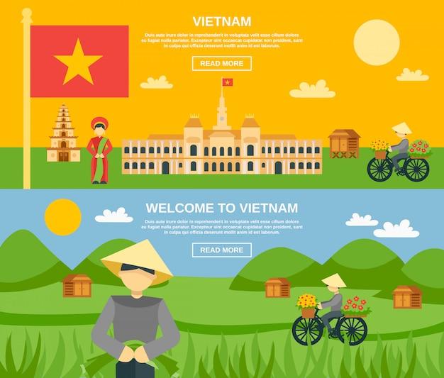 Conjunto de banner do vietnã Vetor Premium