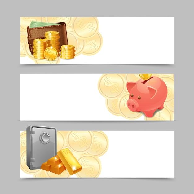 Conjunto de banner financeiro Vetor grátis