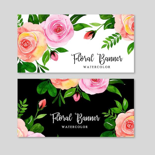 Conjunto de banner floral em aquarela Vetor Premium