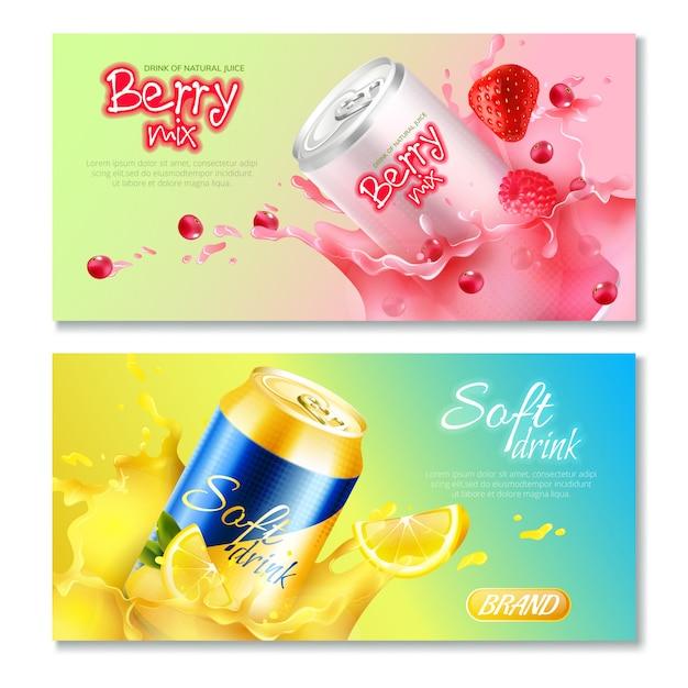 Conjunto de banner horizontal de bebidas de latas de alumínio Vetor grátis