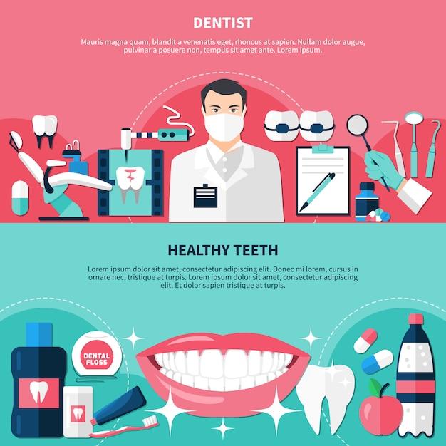 Conjunto de banner horizontal de dentes saudáveis Vetor grátis