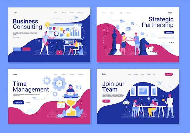 Conjunto de banner horizontal de negócios Vetor Premium