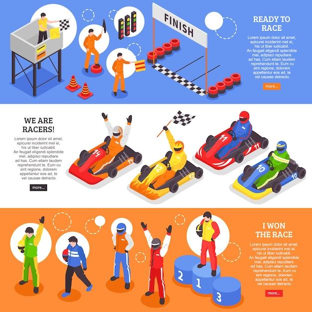 Conjunto de banner horizontal do carrinho racers Vetor grátis