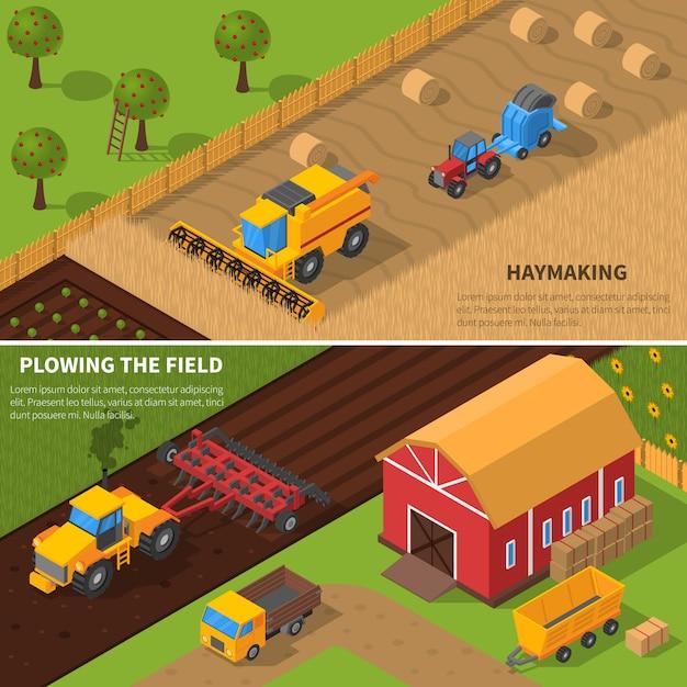 Conjunto de banner isométrica de máquinas agrícolas Vetor grátis