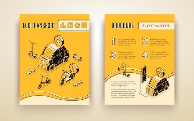 Conjunto de banner isométrica de transporte ecológico Vetor grátis