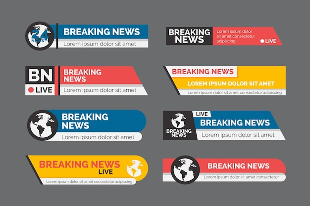 Conjunto de banner oficial de notícias de última hora Vetor Premium