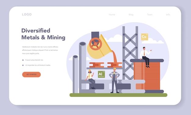 Conjunto de banner ou página de destino da indústria de mineração e metais não ferrosos. Vetor Premium