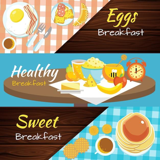 Conjunto de banner plana de café da manhã Vetor grátis