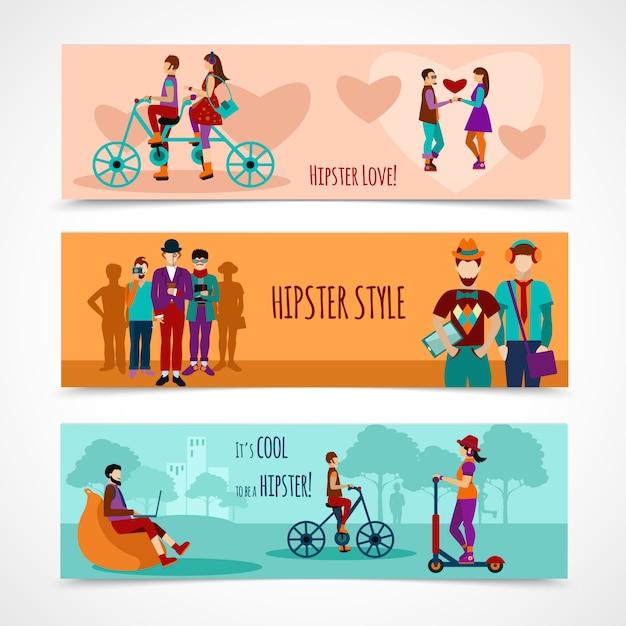Conjunto de banner plana de pessoas hipster Vetor grátis