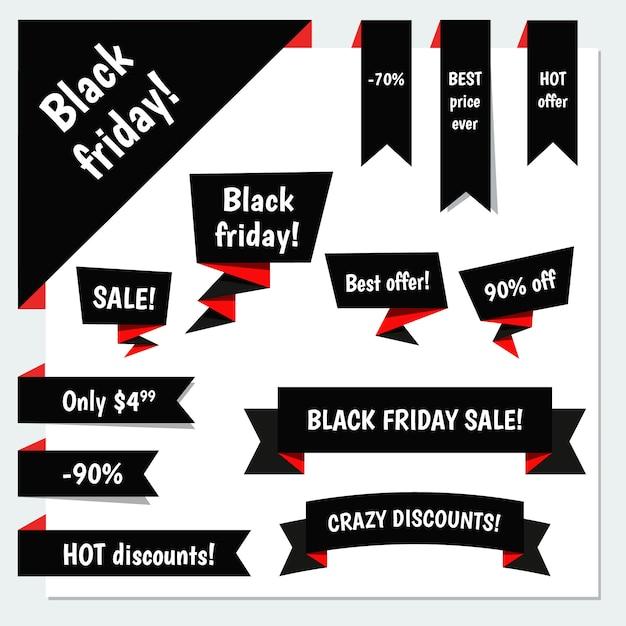 Conjunto de banner preto sexta-feira Vetor Premium