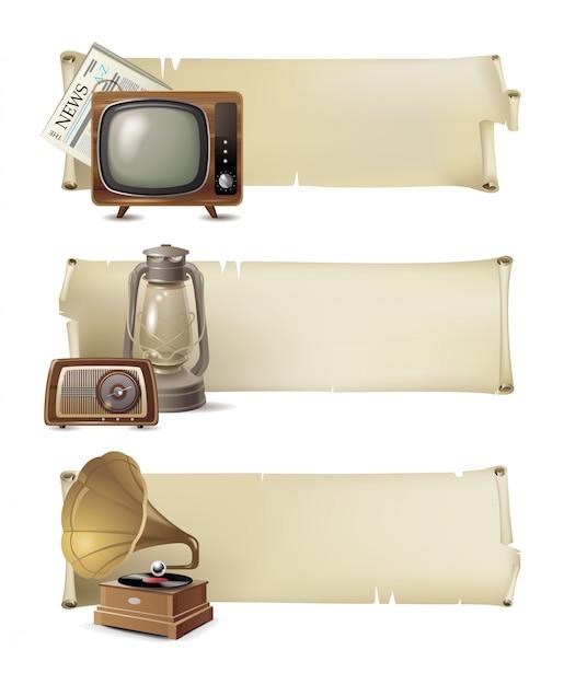 Conjunto de banner vintage Vetor Premium