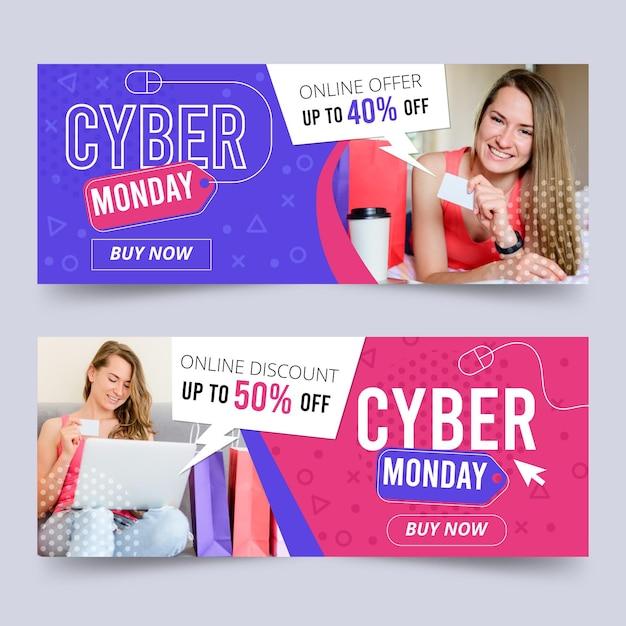 Conjunto de banners cibernéticos de design plano Vetor grátis