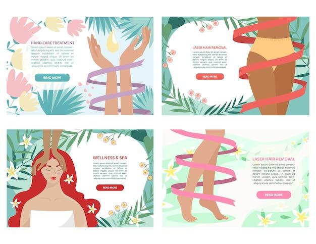 Conjunto de banners coloridos de salão de beleza com mãos, quadris, pernas, rosto. Vetor Premium