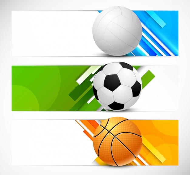 Conjunto de banners com bolas de esporte Vetor Premium