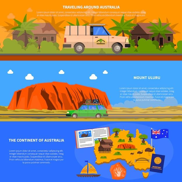 Conjunto de banners da austrália Vetor grátis