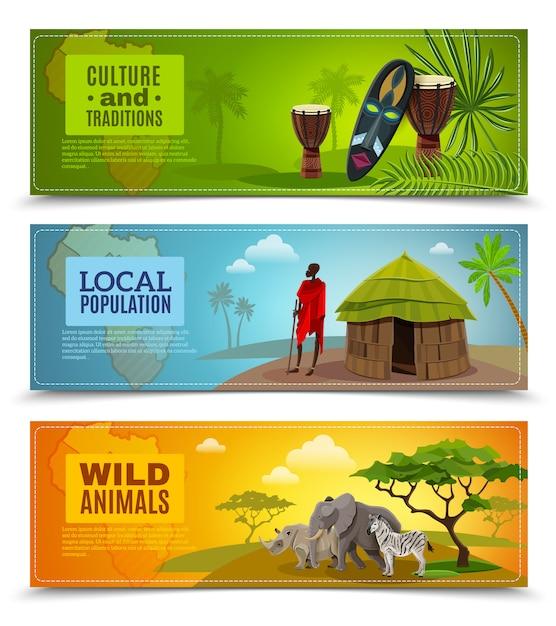 Conjunto de banners de áfrica Vetor grátis