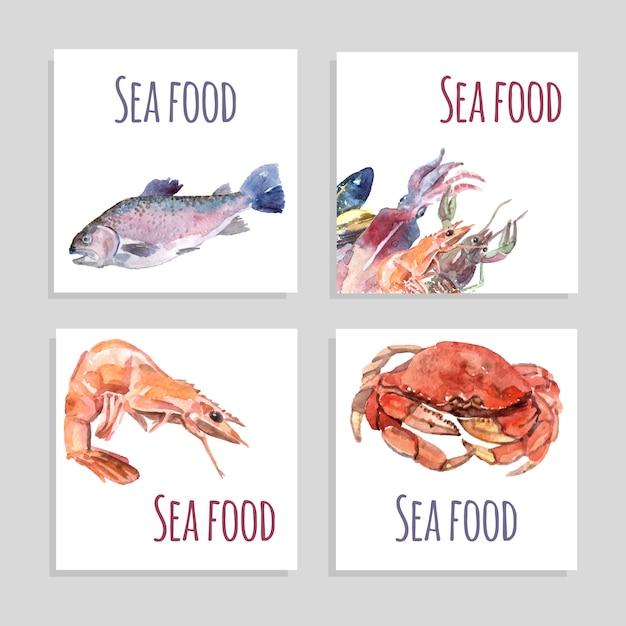 Conjunto de banners de aquarela de frutos do mar Vetor grátis