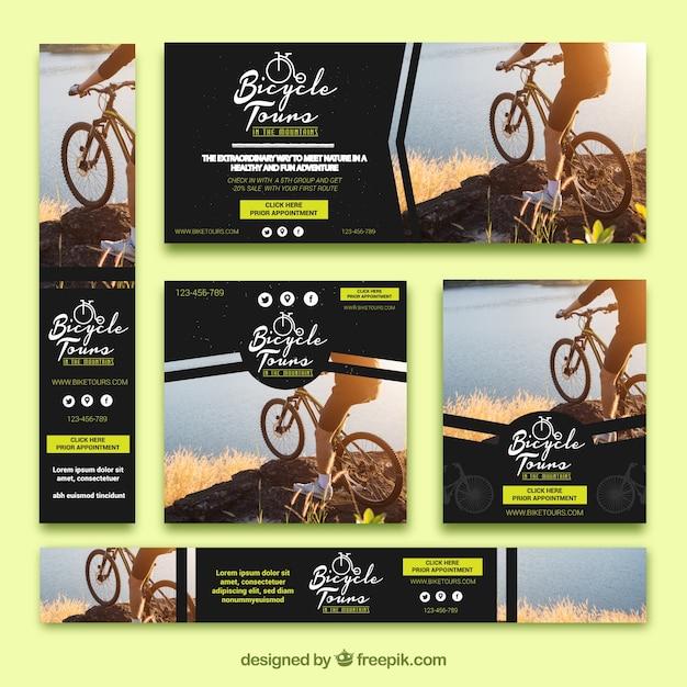 Conjunto de banners de bicicleta Vetor grátis