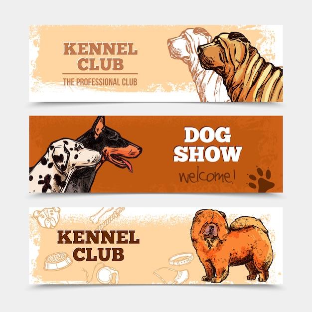 Conjunto de banners de cães Vetor grátis