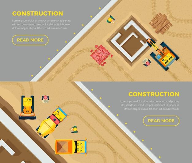 Conjunto de banners de construção Vetor Premium