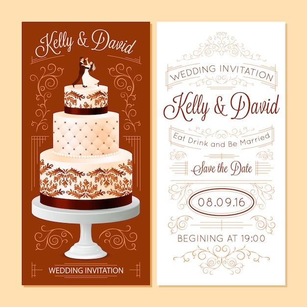 Conjunto de banners de convite de casamento Vetor grátis