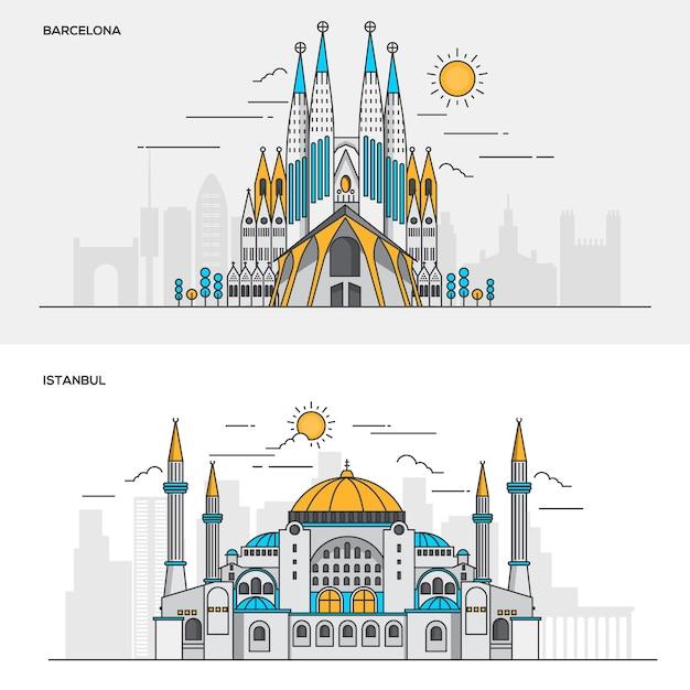 Conjunto de banners de cor de linha para a cidade de barcelona e istambul. conceitos de web banner e materiais impressos. ilustração Vetor Premium
