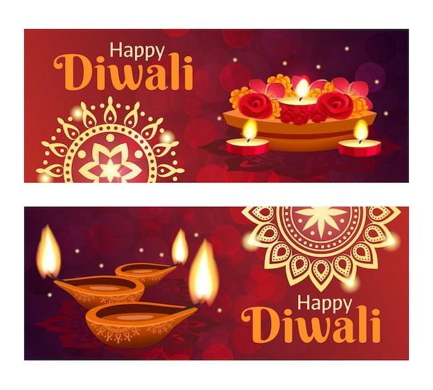 Conjunto de banners de diwali Vetor grátis