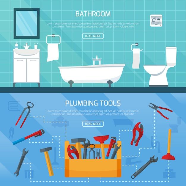 Conjunto de banners de encanamento de banheiro Vetor grátis