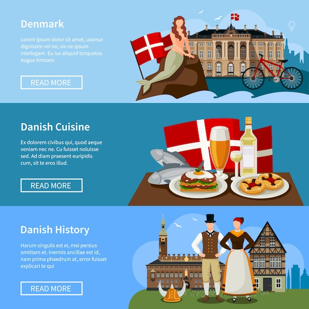 Conjunto de banners de estilo plano de marcos dinamarquês Vetor grátis