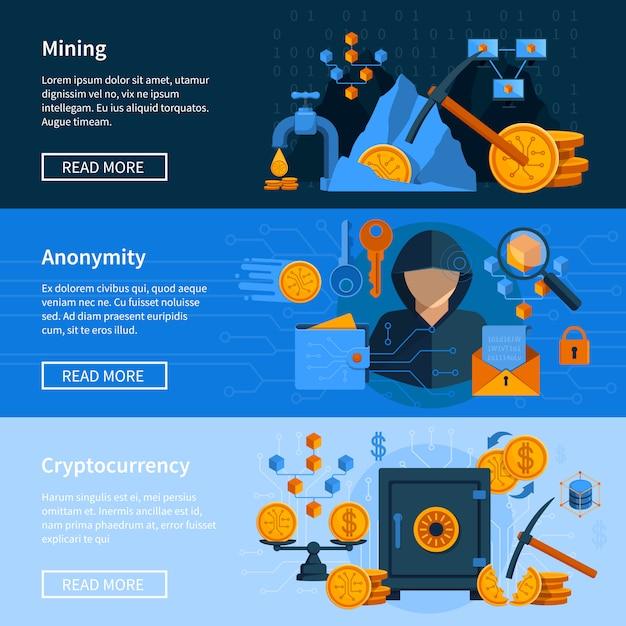Conjunto de banners de estilo plano de moeda virtual Vetor grátis