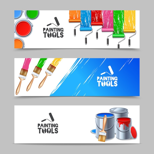 Conjunto de banners de ferramentas de pintura Vetor grátis