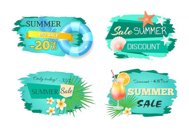 Conjunto de banners de grande venda de verão Vetor Premium