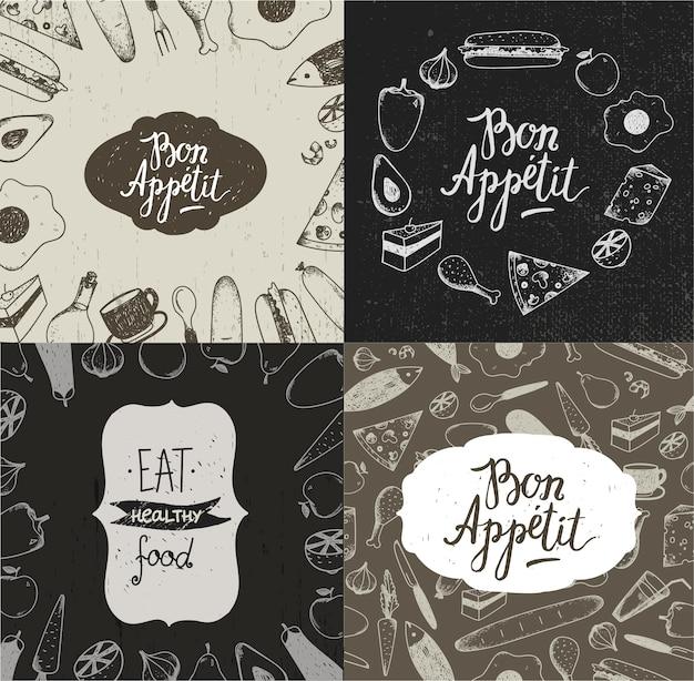 Conjunto de banners de ilustração de comida, cartazes, cartões, capas. legumes, frutas, carnes, peixes, sobremesas desenhadas à mão fundos estilo vintage Vetor Premium
