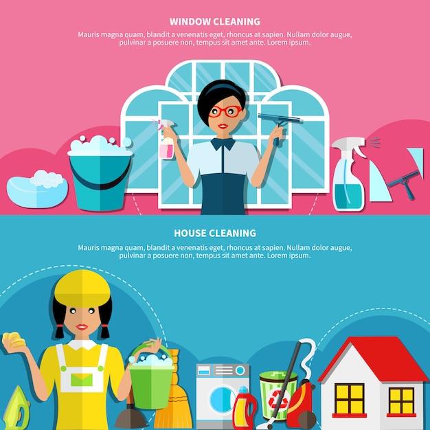 Conjunto de banners de limpeza de casa Vetor grátis